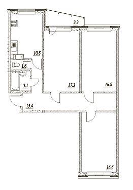 Планировка Трёхкомнатная квартира площадью 83.3 кв.м в ЖК «Брусничный»