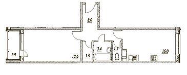 Планировка Однокомнатная квартира площадью 50.1 кв.м в ЖК «Брусничный»