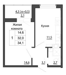 Планировка Однокомнатная квартира площадью 34.1 кв.м в ЖК «Брусничный»