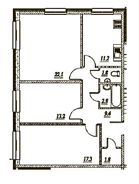 Планировка Трёхкомнатная квартира площадью 79.6 кв.м в ЖК «Брусничный»