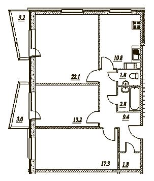 Планировка Трёхкомнатная квартира площадью 82.6 кв.м в ЖК «Брусничный»